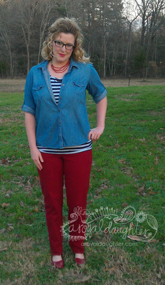 Colored denim with stripes and chambray
