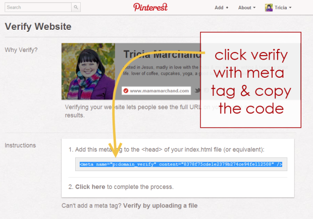 How to Verify Pinterest on Blogger blog
