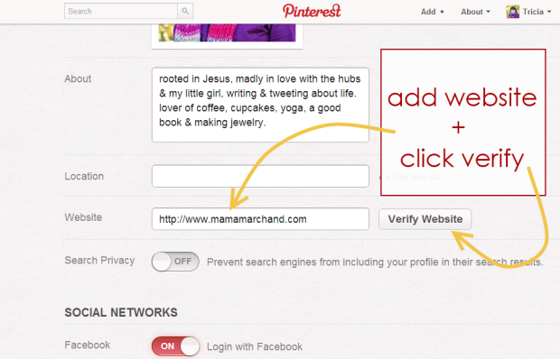 How to Verify Pinterest on blogger