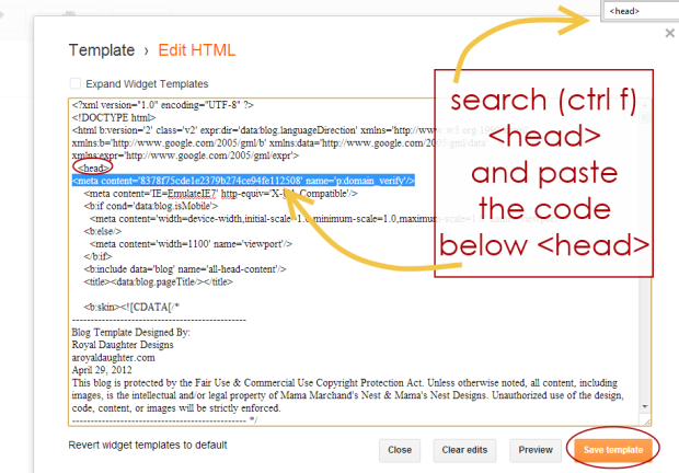 How to Verify Pinterest on blogspot
