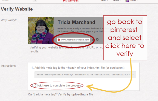 How to verify pinterest in blogspot