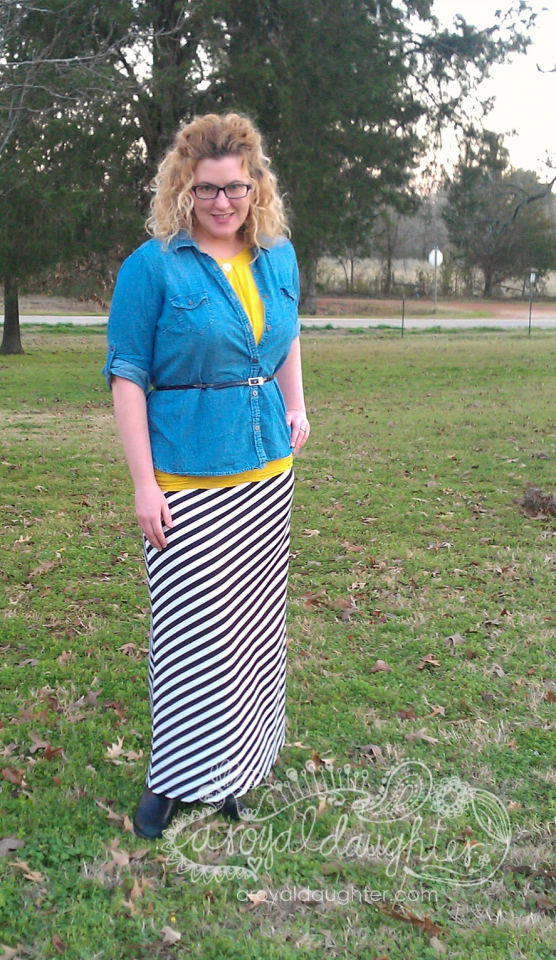 Striped Maxi Skirt with Chambray blouse