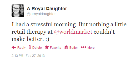 World Market Tweet