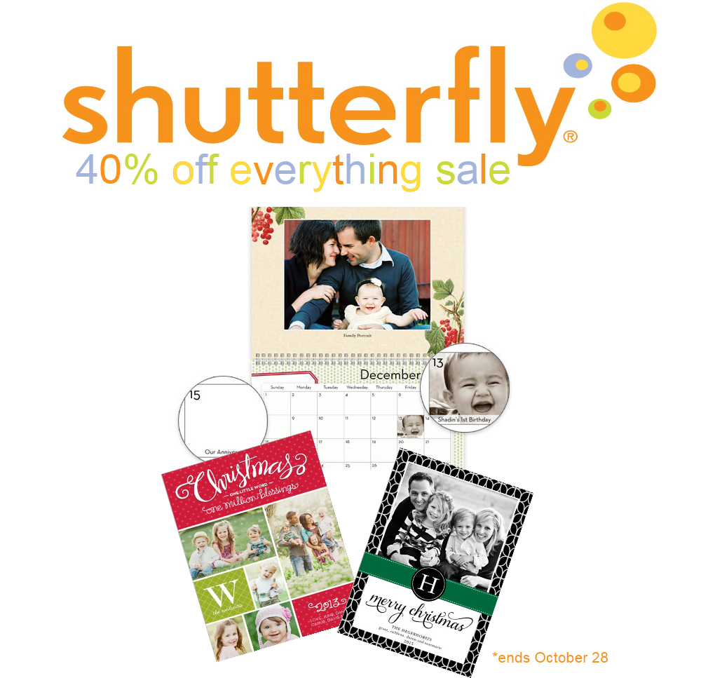 Shutterfly 40 percent off everything deal