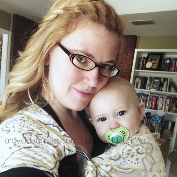 Wearing a baby in a ring sling